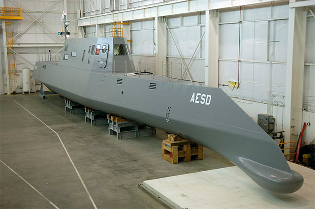 """A quarter size version of the Zumwalt, called the Sea Jet, passed various tests indicating the seaworthiness of the """"tumblehome"""" design."""