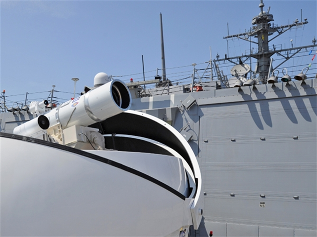 A US military laser abord the USS Ponce, capable of destroying drones or hostile boats. Image Credit:  US Navy via US News