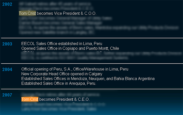 A timeline from the EECOL website shows Tom Crist's rise to President and CEO, in addition to international growth.