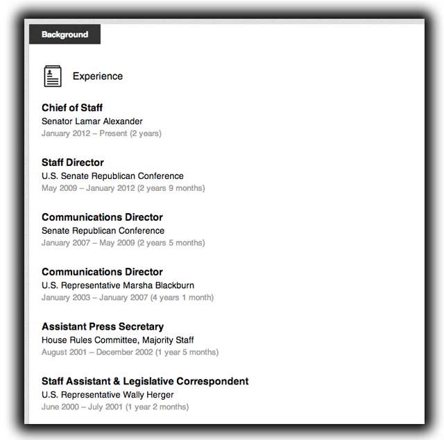 Ryan Loskarn LinkedIn Career Resume Lamar Alexander Marsha Blackburn