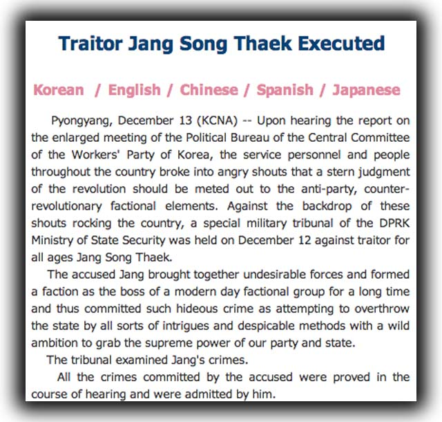Jany Song Thaek Executed, Kim Jong-Un's uncle executed.