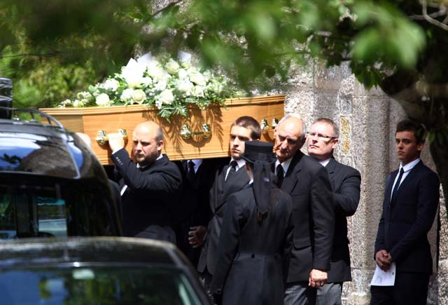 Tom Daley at his father's funeral on June 8, 2011. (Getty)