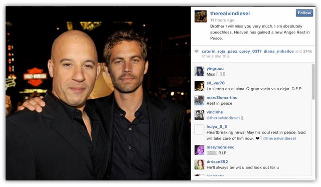 Vin Diesel instagram RIP paul walker