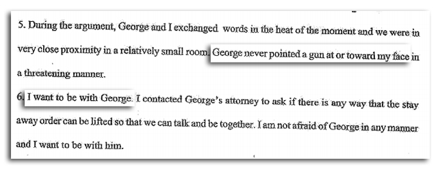 george zimmerman girlfriend says he did not point a gun at her