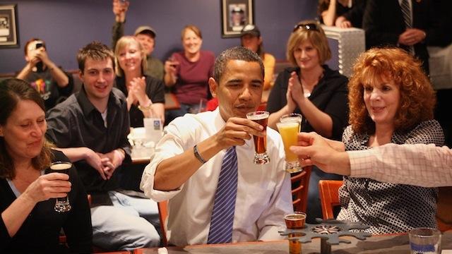 barack obama drinking