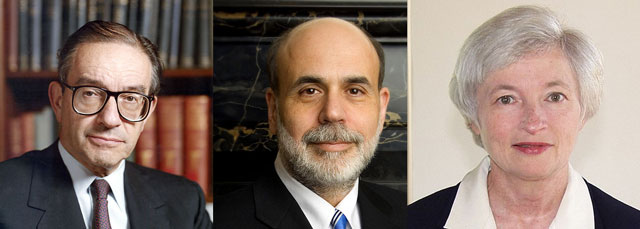Past chairs of the fed in chronological order: Alan Greenspan, Ben Bernanke, and the soon-to-be chair, Janet Yellen.