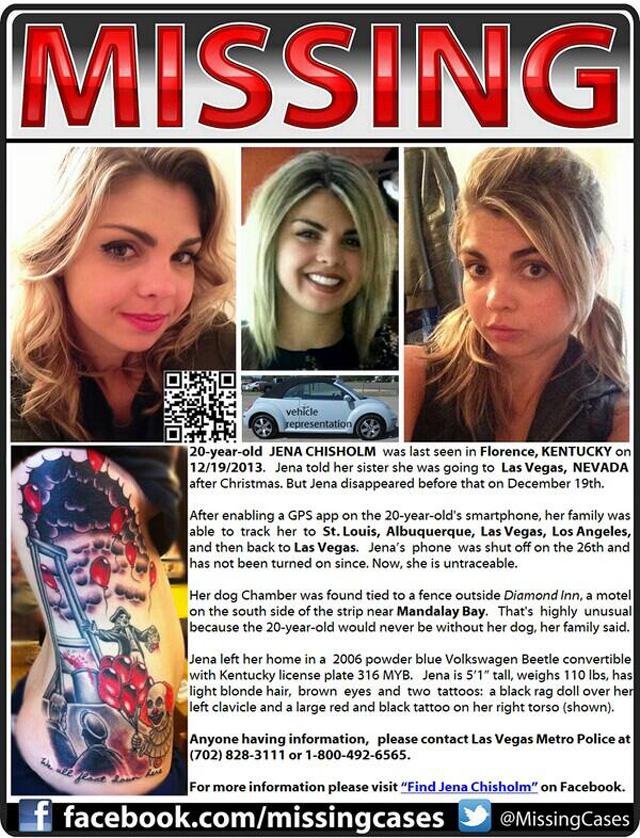 Jena Chisholm Missing, Find Jena Chisholm, Kentucky Teenager Missing in Las Vegas.