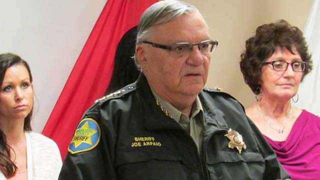 Sheriff Joe Arpaio Maricopa County in Arizona American flag on rations of bread and water.