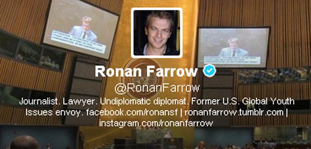 Ronan Farrow show, Ronan Farrow MSNBC, Mia farrow son, woody allen son, frank sinatra son