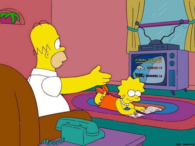 Simpsons Episode Super Bowl Prediction, Bonfire of the Manatees, Super Bowl XVLIII, Denver Seattle The Simpsons