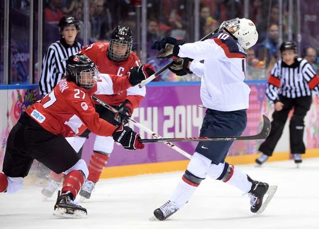 Tara Watchorn Meghan Duggan Team USA Team Canada Roughing Foul