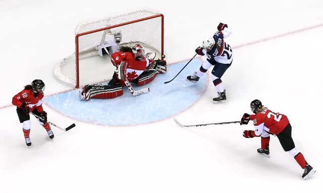 Alex  Carpenter Goal Team USA Team Canada Sochi Olympics