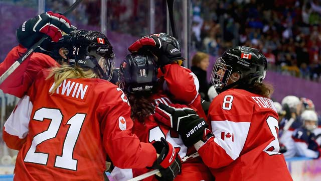 Brianne Jenner Team Canada Goal Gold Medal Team USA