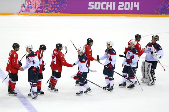 Team USA Canada Handshake Sochi 1-0 Canada