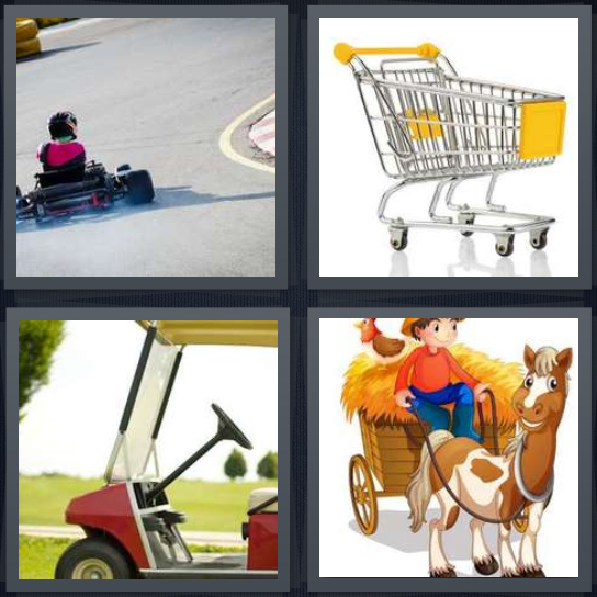 4 Pics 1 Word Answer 4 letters for girl going downhill in go-kart, grocery basket, golf car, cartoon hay wagon