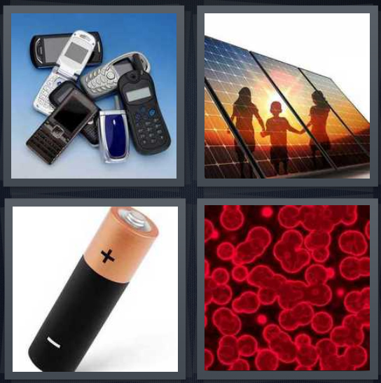 4 Pics 1 Word Answer 4 letters for mobile phones, children playing near solar panel, battery, blood seen through microscope