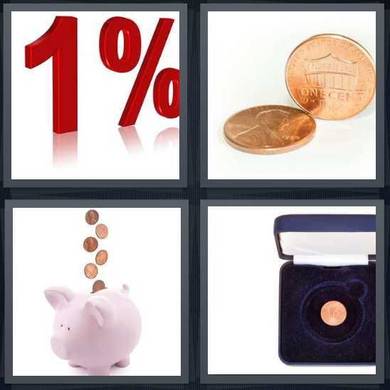4 Pics 1 Word Answer 4 letters for one percent sign, penny, coins going into piggybank, coin in jewelry box