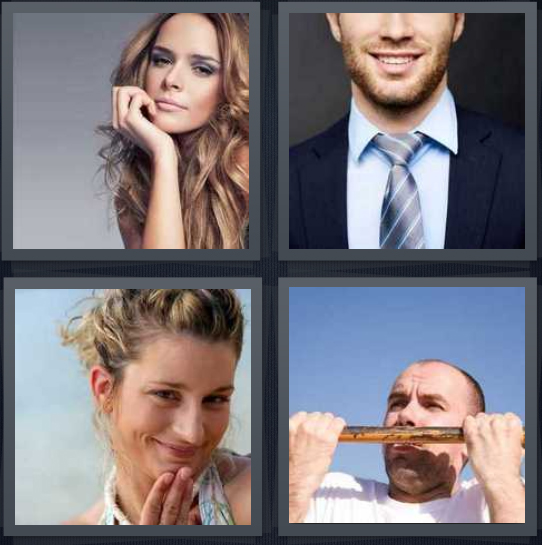 4 Pics 1 Word Answer 4 letters for model with face resting on hand, man with beard smiling, woman laughing with hand near face, man doing pull-up