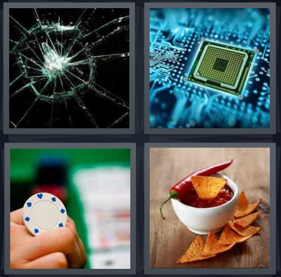 4 Pics 1 Word Answer 4 letters for crack in windshield, micro computer piece, poker piece, salsa with hot pepper