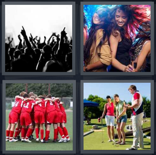4 Pics 1 Word Answer 4 letters for people dancing with arms raised, girls on dancefloor, team huddling, people on golf course