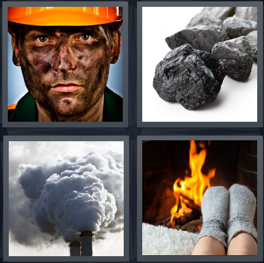 4 Pics 1 Word Answer 4 letters for miner with soot on face, lump of fossilized oil, exhaust from factory, stocking feet near fireplace