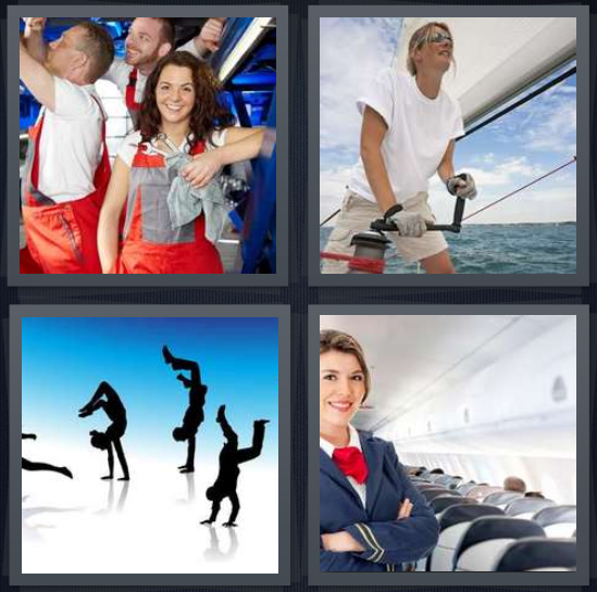 4 Pics 1 Word Answer 4 letters for construction team in orange, woman sailor on water, silhouette dancers, stewardess in blue on plane