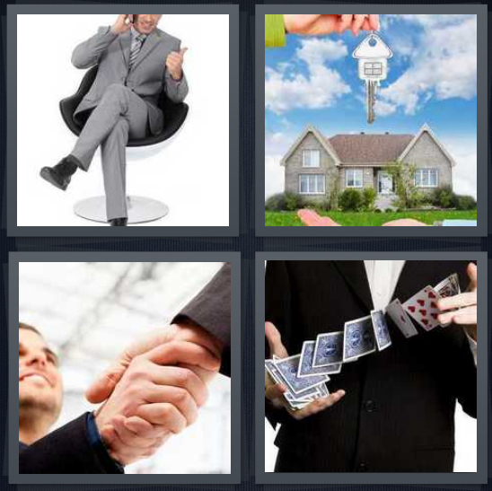 4 Pics 1 Word Answer for Businessman, House, Handshake ...