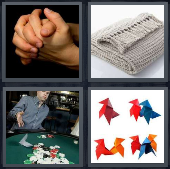 4 Pics 1 Word Answer For Clasped Organized Poker Origami