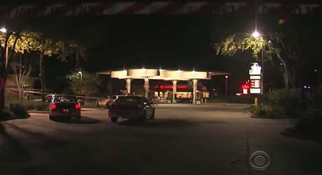 The Jacksonville gas station where the shooting took place. Screenshot via CBS News