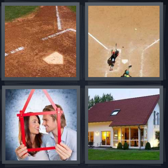 4 Pics 1 Word Answer 4 letters for base on baseball diamond, boy playing baseball at bat, couple behind rendering of house, house with lawn