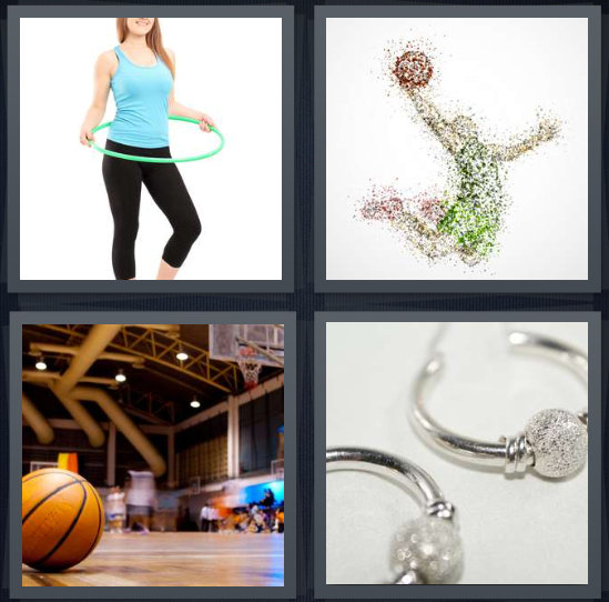 4 Pics 1 Word Answer 4 letters for woman with hula ring, rendering of Jordan about to dunk, basketball court with ball, silver earrings
