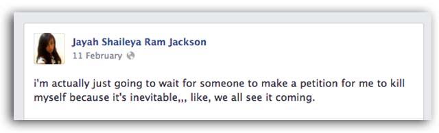 Jayah Shaileya Ram Jackson Upper West Side Manhattan Suicide New York Facebook Suicide Death Petition
