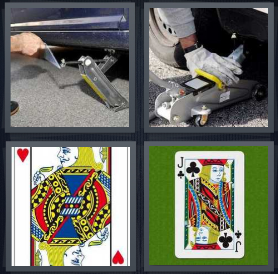 4 Pics 1 Word Answer 4 letters for hydraulic lift, person lifting car, playing card, playing card club
