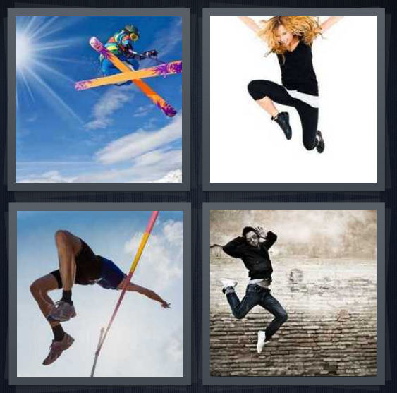 4 Pics 1 Word Answer 4 letters for person on skis catching air, woman leaping on white background, track runner leaping, dancer on brick background