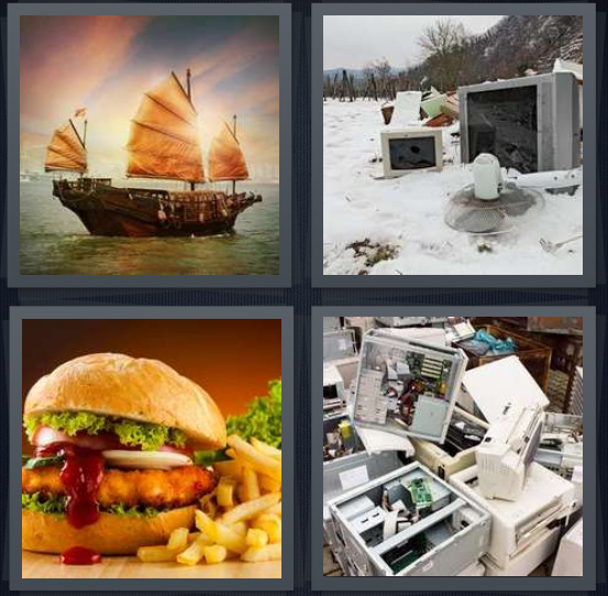 4 Pics 1 Word Answer 4 letters for pirate ship on water, junk in snow, chicken burger with fries, old machines