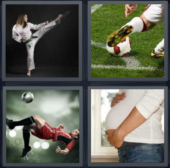4 Pics 1 Word Answer 4 letters for karate master on black background, person playing soccer, person playing with soccer ball, pregnant woman