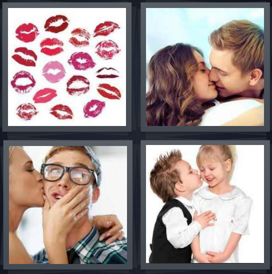 4 Pics 1 Word Answer 4 letters for lip marks with lipstick, couple frenching, girl pecking nerdy boy, little kids flirting