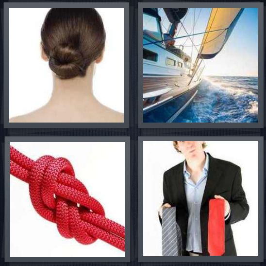 4 Pics 1 Word Answer 4 letters for woman with bun in hair, sailboat on ocean, red rope hitch, man with two ties