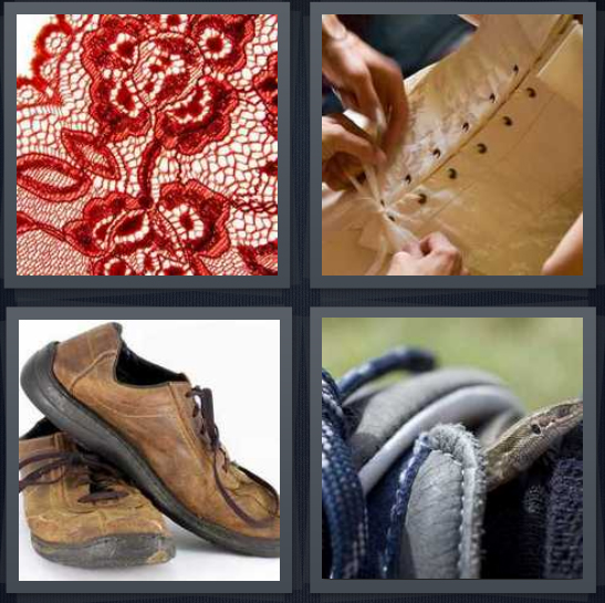 4 Pics 1 Word Answer 4 letters for red delicate doily, corset being tied, pair of shoes, sneakers to tie