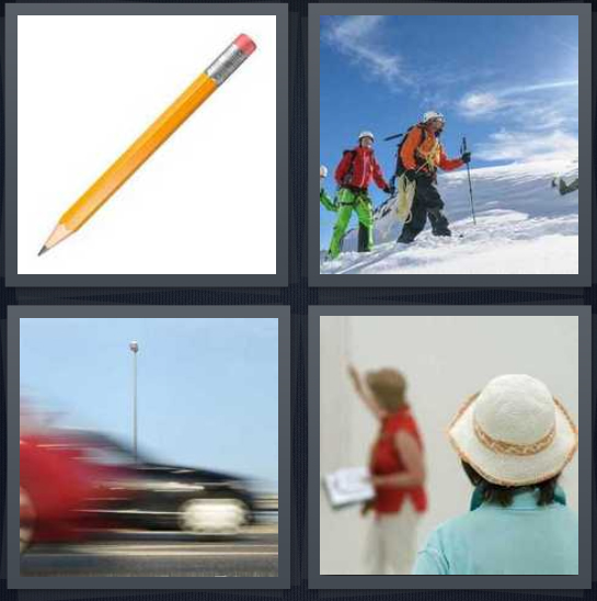 4 Pics 1 Word Answer 4 letters for pencil on white background, hikers on snowy mountain, car with blurred background, teacher guiding student
