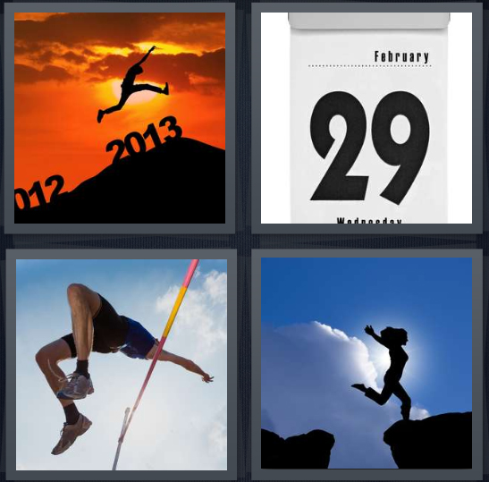 4 Pics 1 Word Answer 4 letters for man jumping into new year, February 29 on calendar, track star jumping, woman jumping from mountain peak