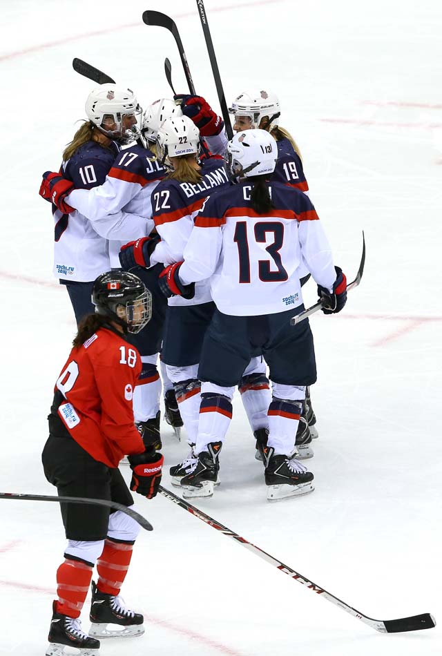 Meghan Duggan goal Team USA gold medal game Team Canada Sochi Olympics.