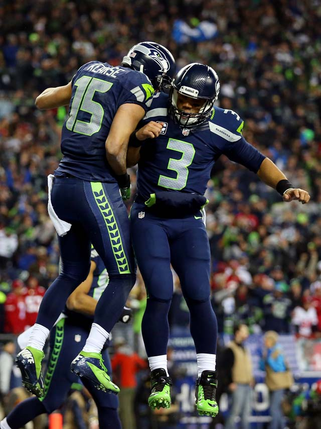 Jermaine Kearse Seahawks 49ers NFC Championship Game Russell Wilson Colin Kaepernick The 12th Man.