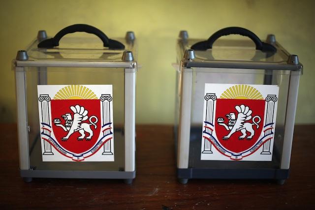 Ballot boxes in Crimea. (Getty)
