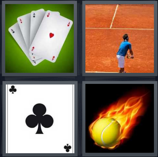 4 Pics 1 Word Answer 4 letters for four of same cards, person playing tennis, club card, tennis ball with fire