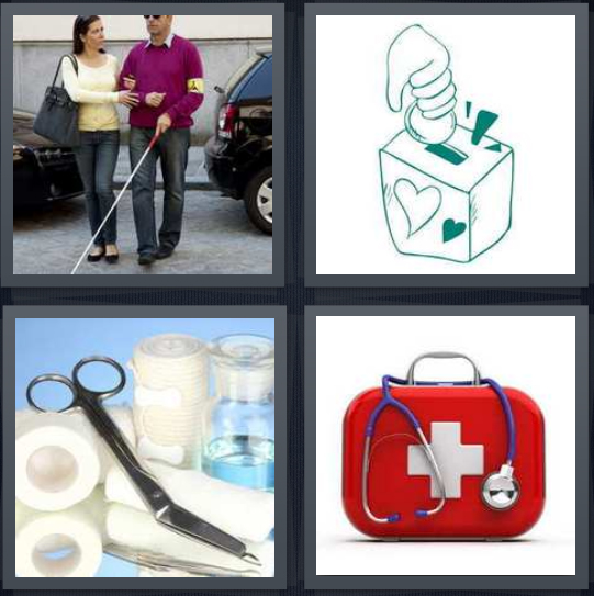 4 Pics 1 Word Answer 4 letters for nurse with old man, drawing of box for donation assisting, bandage tools for wound, emergency kit for injury