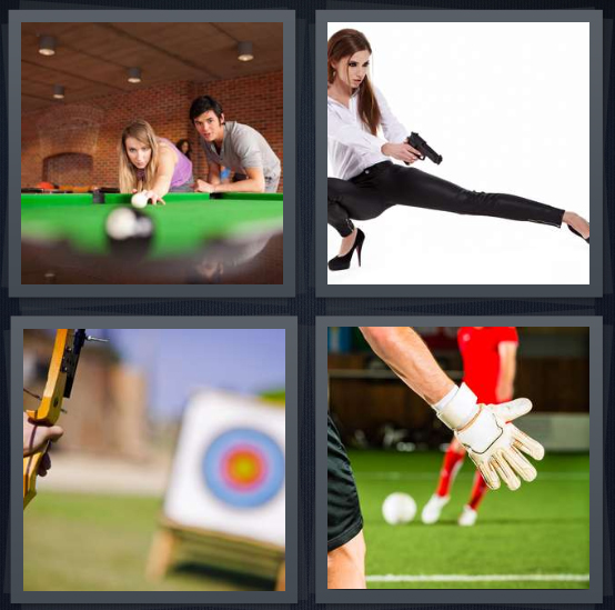 4 Pics 1 Word Answer 3 letters for people playing pool at bar, woman shooting gun, person playing archery, people playing soccer