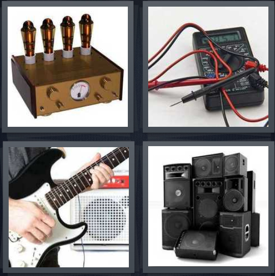 4 Pics 1 Word Answer 4 letters for voltage measure, electric meter, person playing electric guitar, speakers in stack