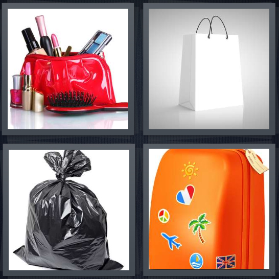 4 Pics 1 Word Answer 4 letters for makeup case with brushes, shopping paper, trash in black plastic, orange suitcase with stickers