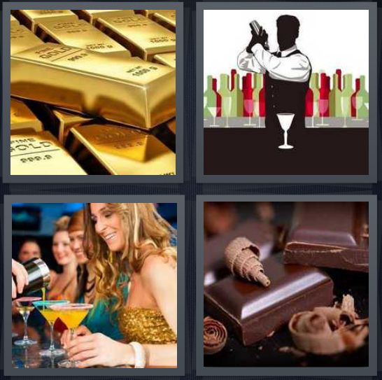 4 Pics 1 Word Answer 4 letters for gold chunks, silhouette of bartender making drinks, women drinking cocktails, chocolate